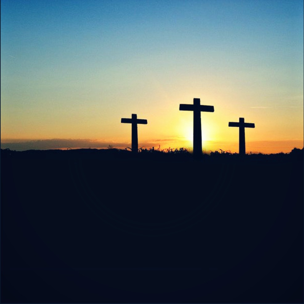 The cross at Calvary sits between the crosses of the two criminals crucified with Jesus.